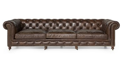 Sofa Edinburgh Vintage Leather - 4-seater Flamant