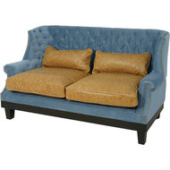 EVANS BLUE & TOBACCO LEATHER SOFA