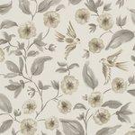 Sanderson Aegean Bird Blossom Charcoal Silver 213060