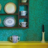 Morris & Co Bird & Anemone Olive Turqoise 216958