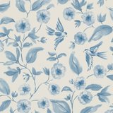 Sanderson Aegean Bird Blossom Indigo Ecru 213061