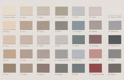 Painting the Past kleurenkaart Traditional Colours via di Alma
