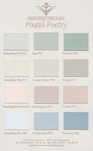 Pastel Poetry kleurenkaart met 12 handgeschilderde Painting the Past kleuren. Verkrijgbaar in de verfsoorten: Painting the Past