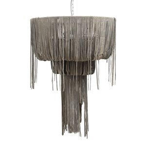 PTMD Leather Funky grey hanging lamp strokes S